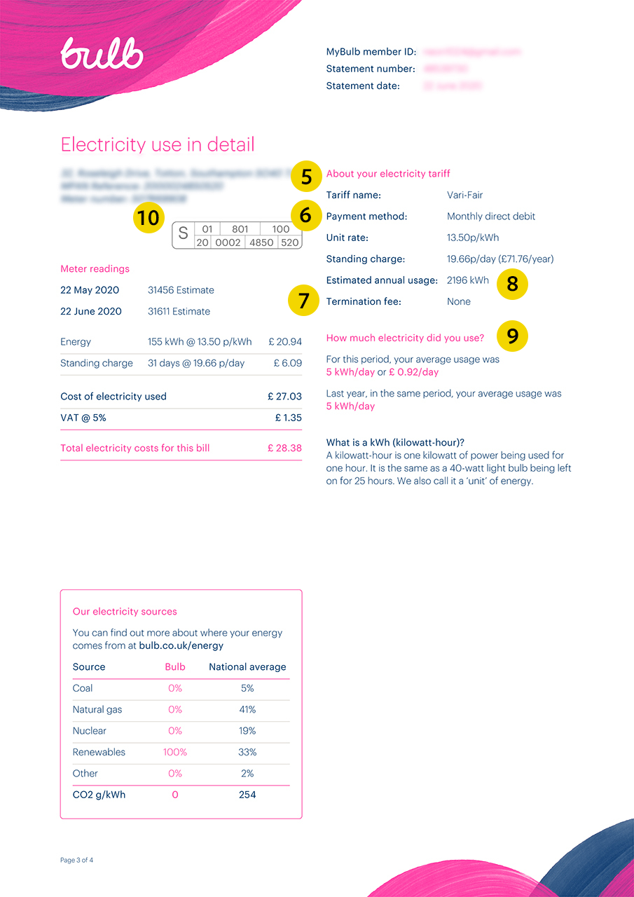 Bulb energy bill page 3