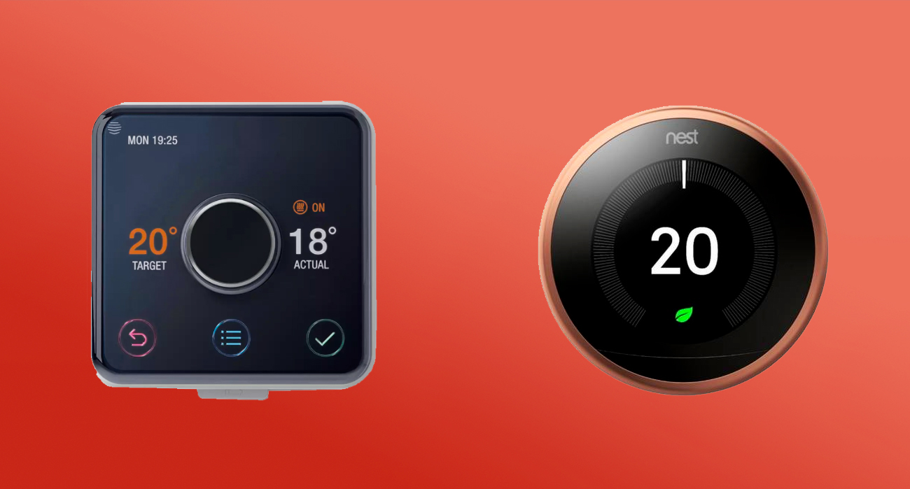 What should you choose, Hive or Nest heating products: An image of both a Hive and Nest Thermostat