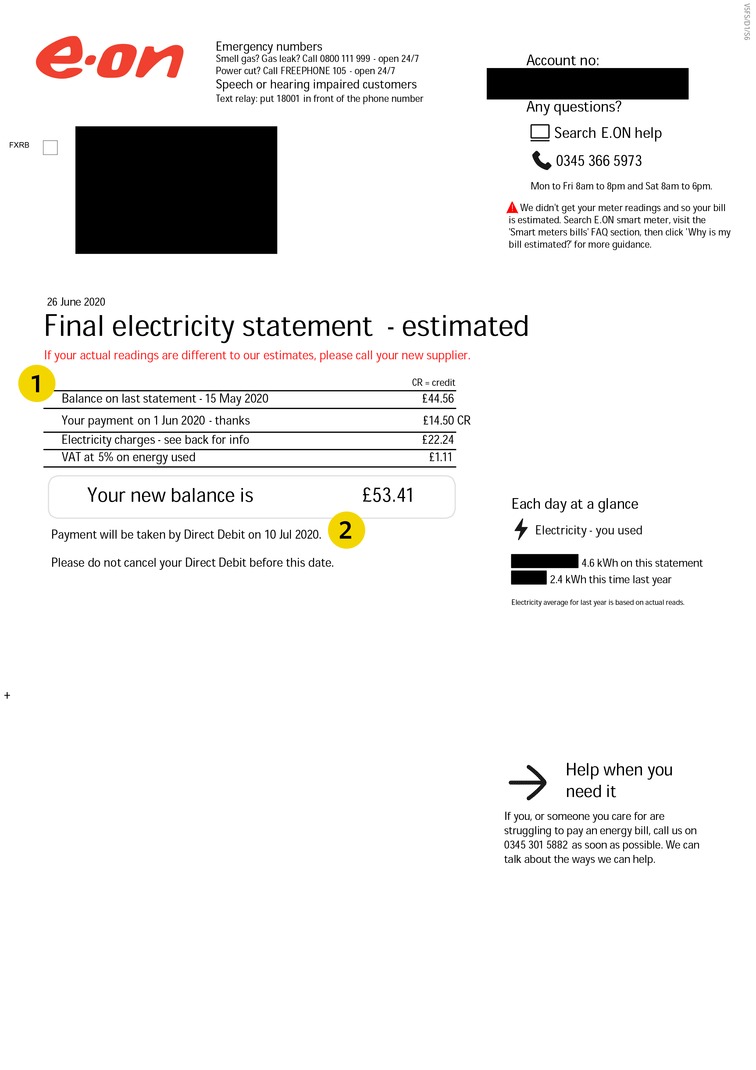 E.ON energy bill page 1