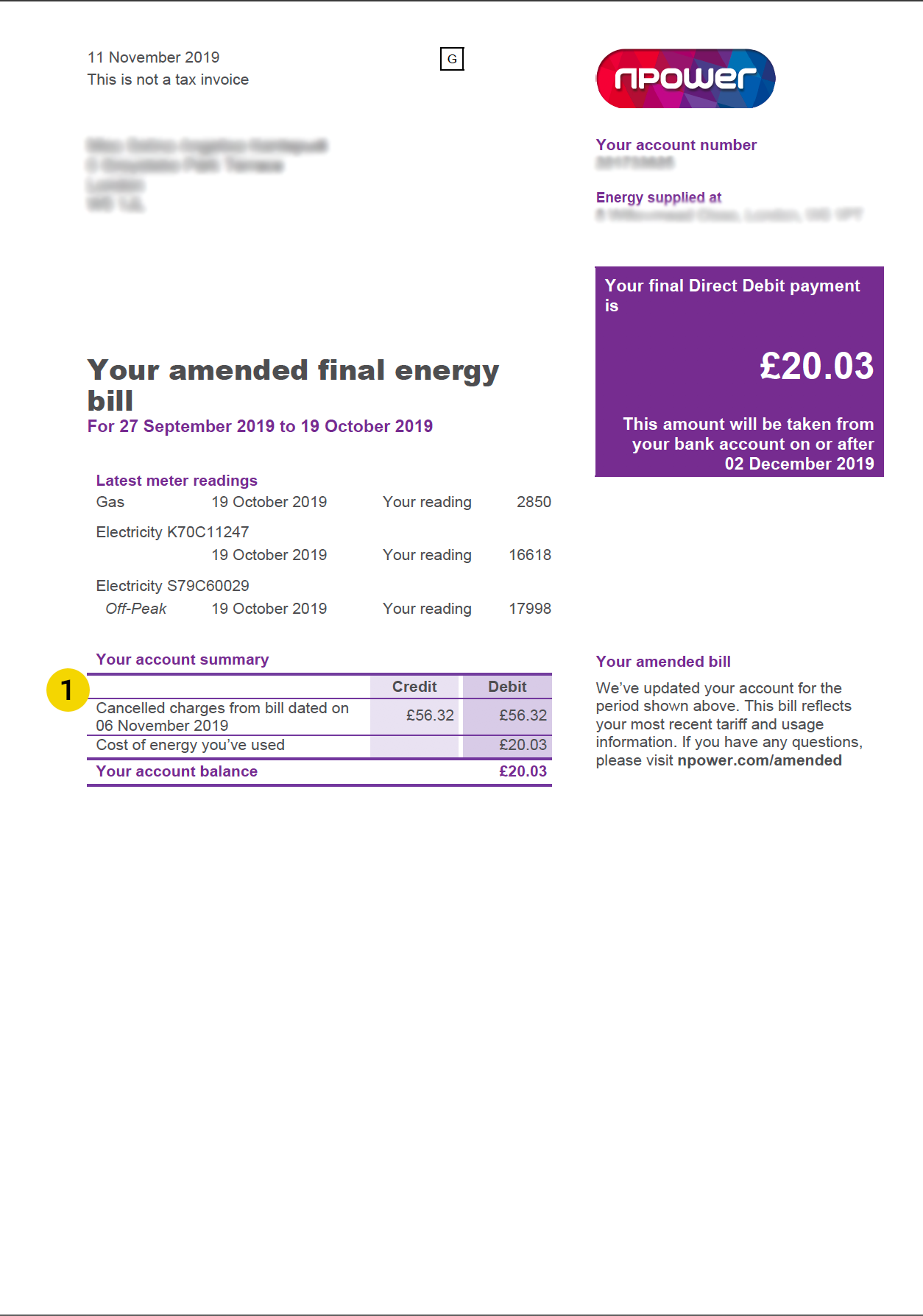 npower energy bill page 1