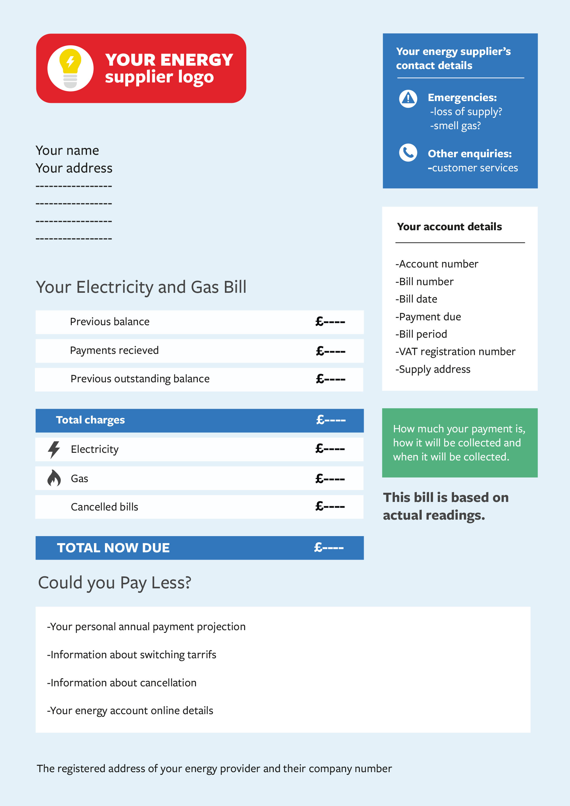 An example of an energy bill.