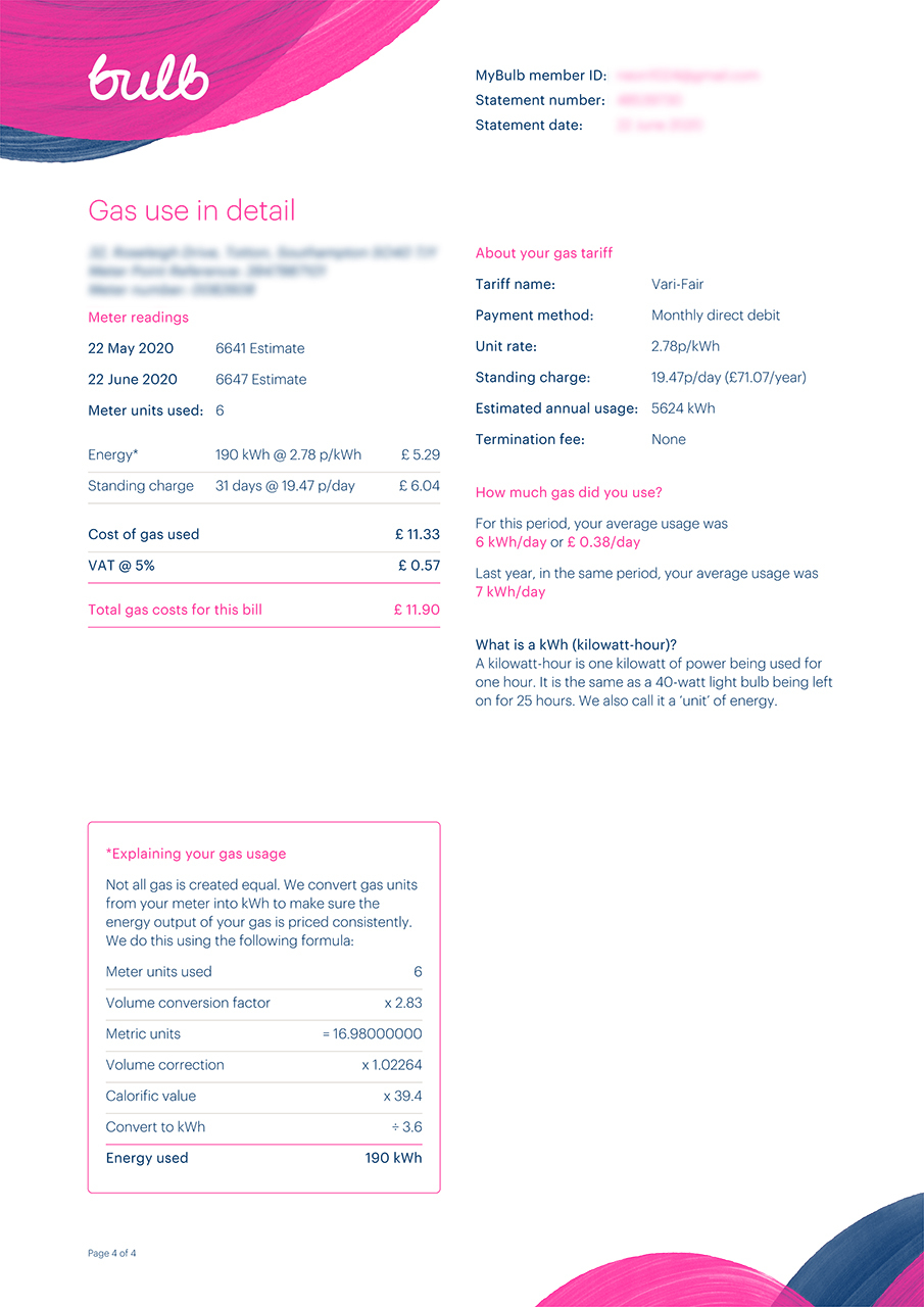 Bulb energy bill page 4