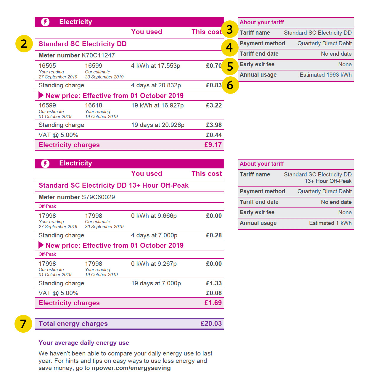 npower energy bill page 2