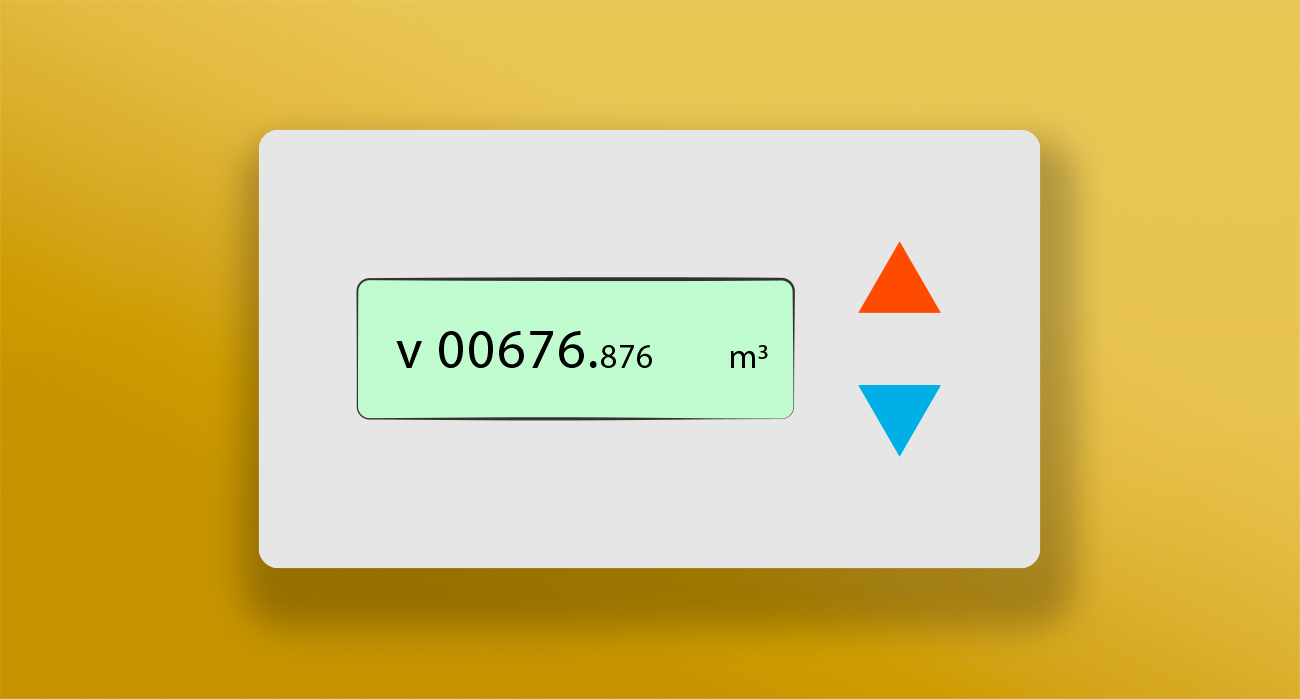 Smart meter with orange and blue buttons