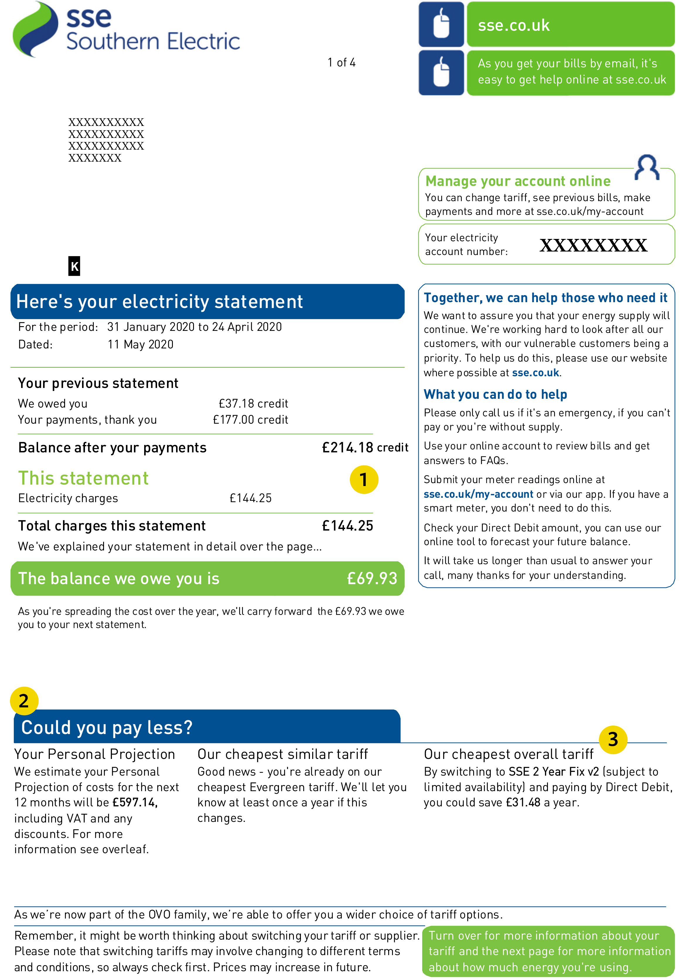SSE energy bill page 1